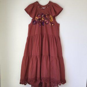 ULLA JOHNSON Pinar Floral Embroidered In MARSALA